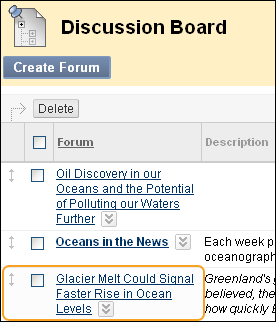 Blackboard Discussion Screenshot