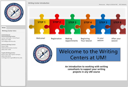 Screen shot of Writing Centers tutorial