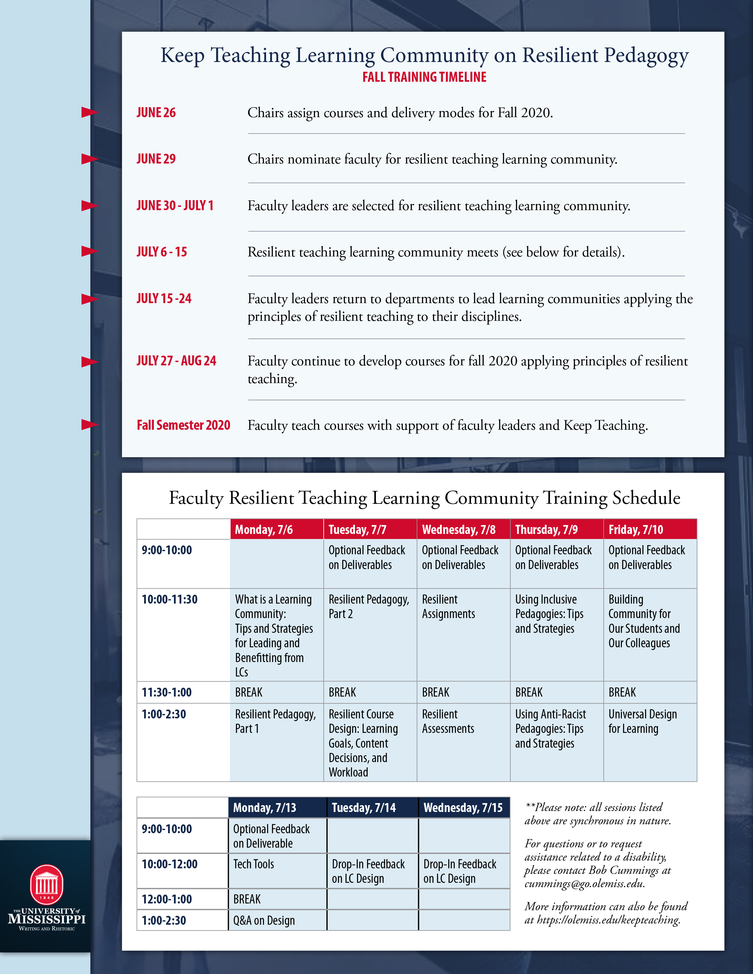 Keep Teaching Learning Community Training Schedule